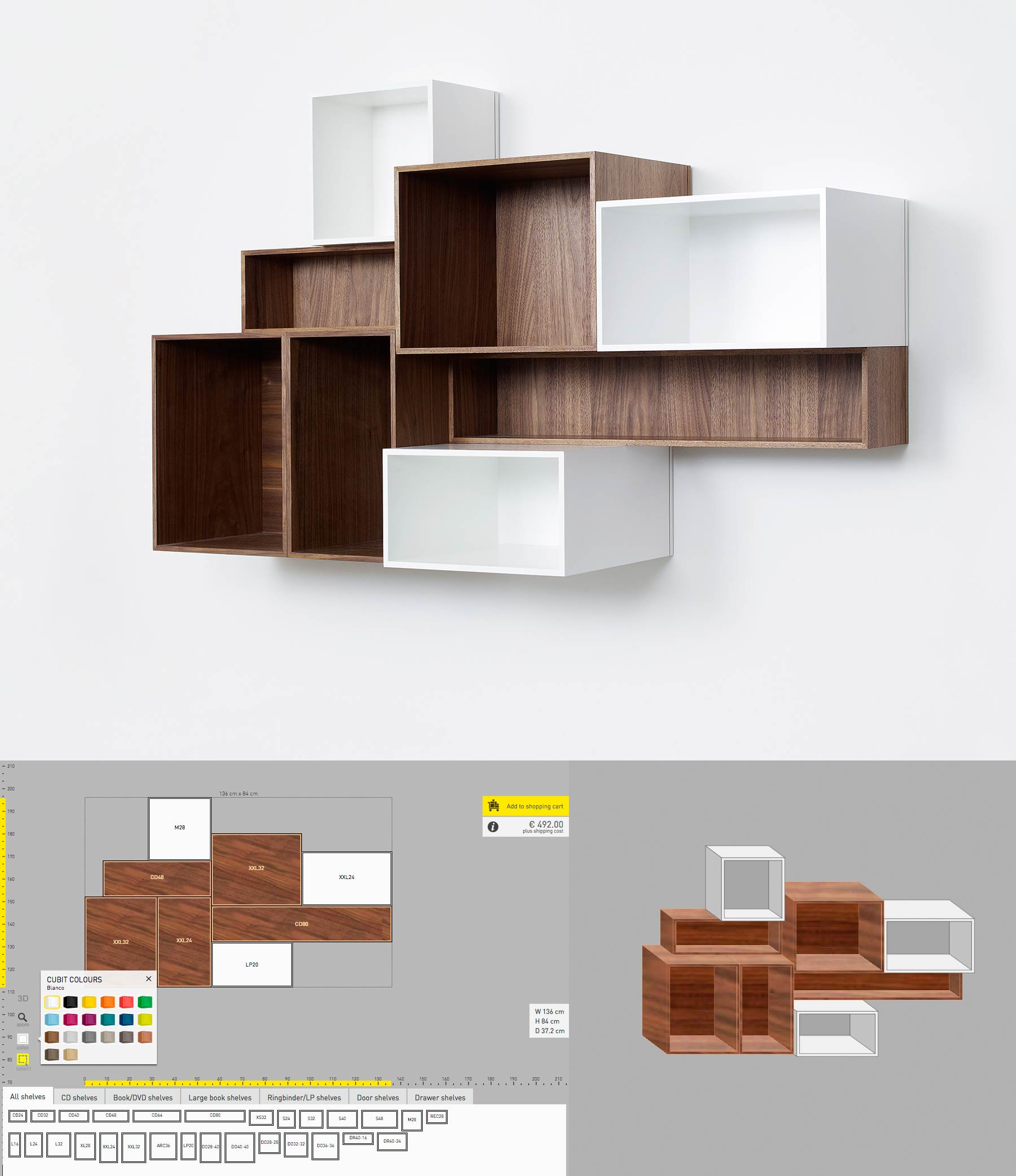 Shelvings made of small modules in different sizes, depths and finishes