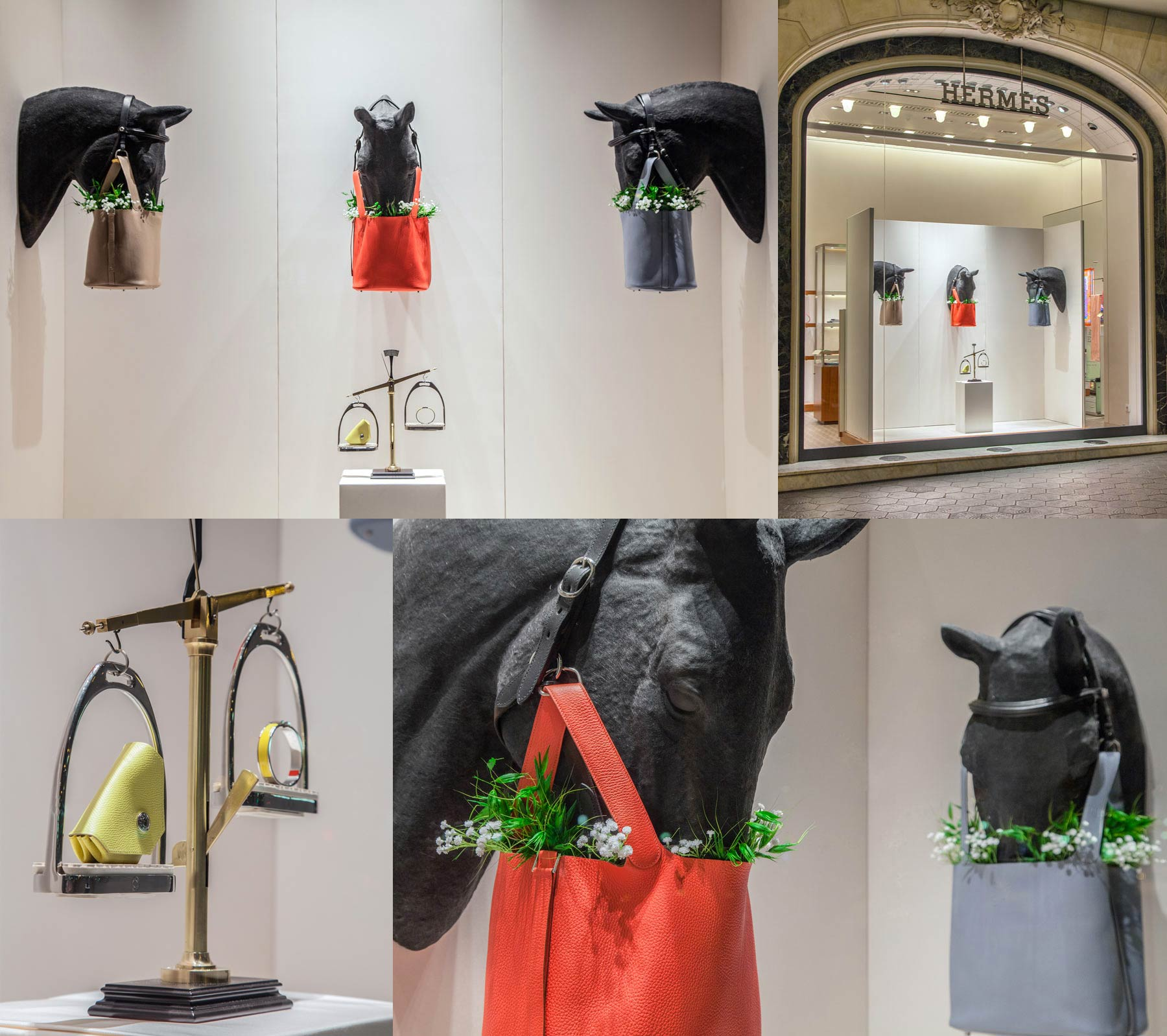 Hermés Display with false horse heads coming out of the wall, eating out of beautiful leather bags