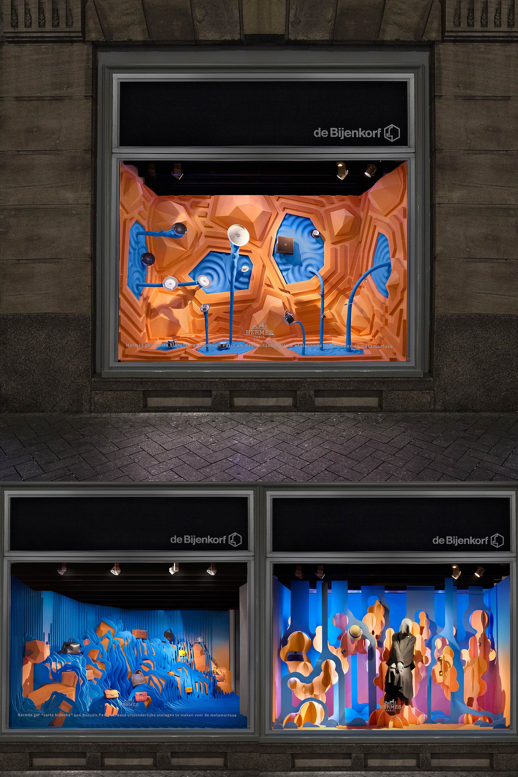 A series of shop windows displaying water aesthetics
