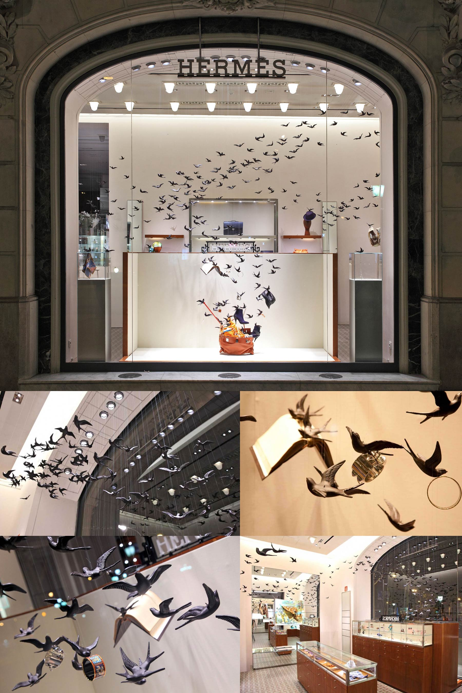 A shop window full of birds that swirl around. Some of them are holding objects by Hermés.