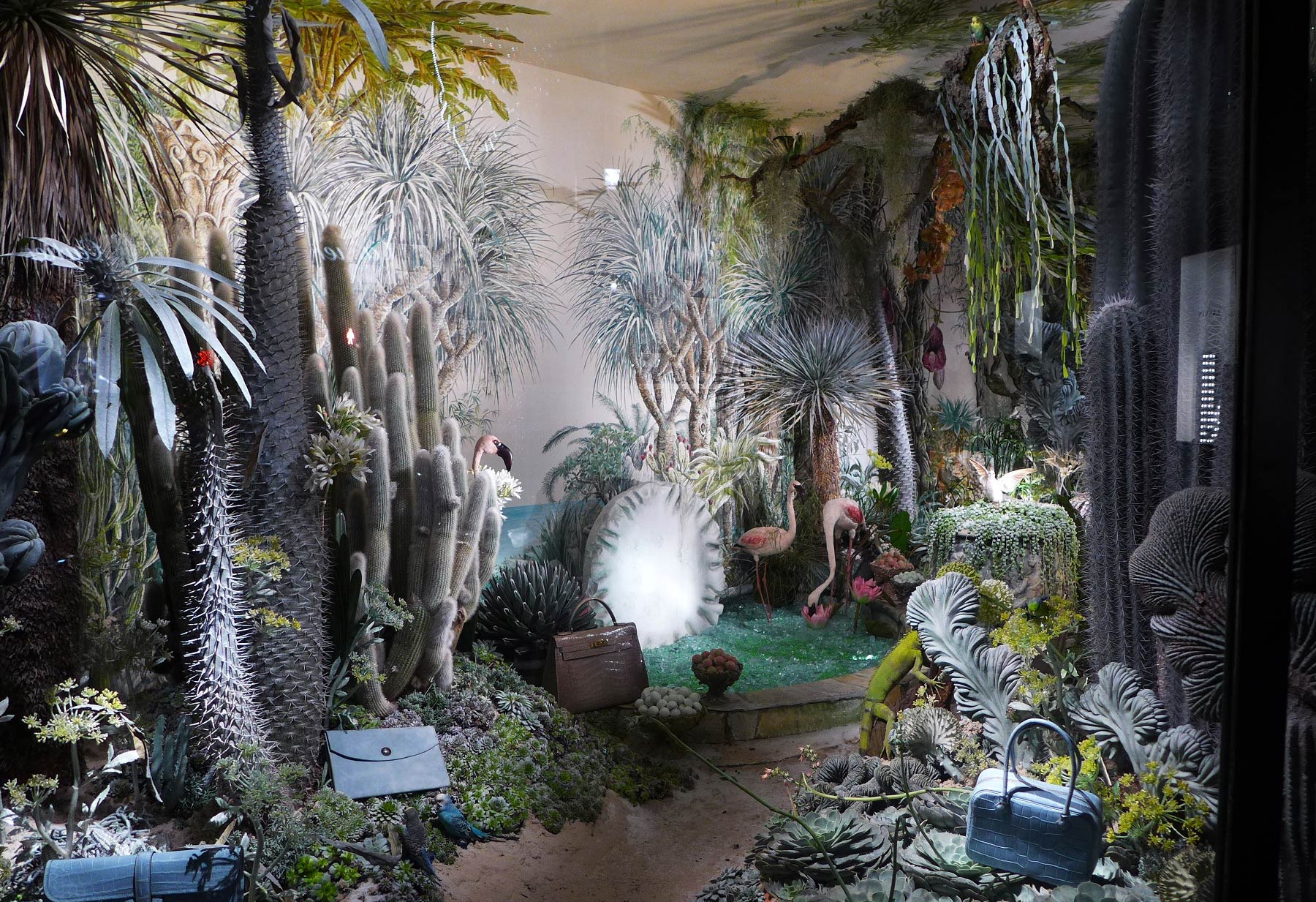 Displays inspired by nature composed by many little pieces. It looks like an exotic landscape.