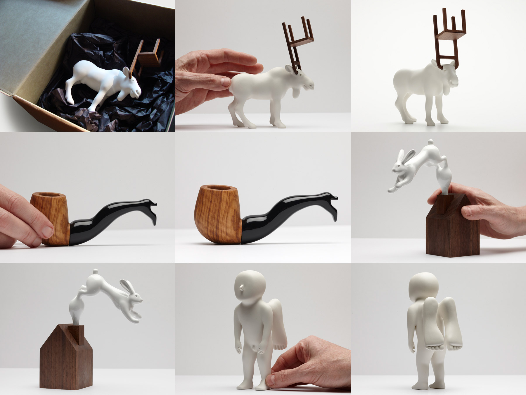 a series of odd objects: a deer with chair-shaped horns, a pipe with a woman's-leg-shaped tube, a house with rabbit-shaped smoke out of its chimney and a little man with foot-shaped wings