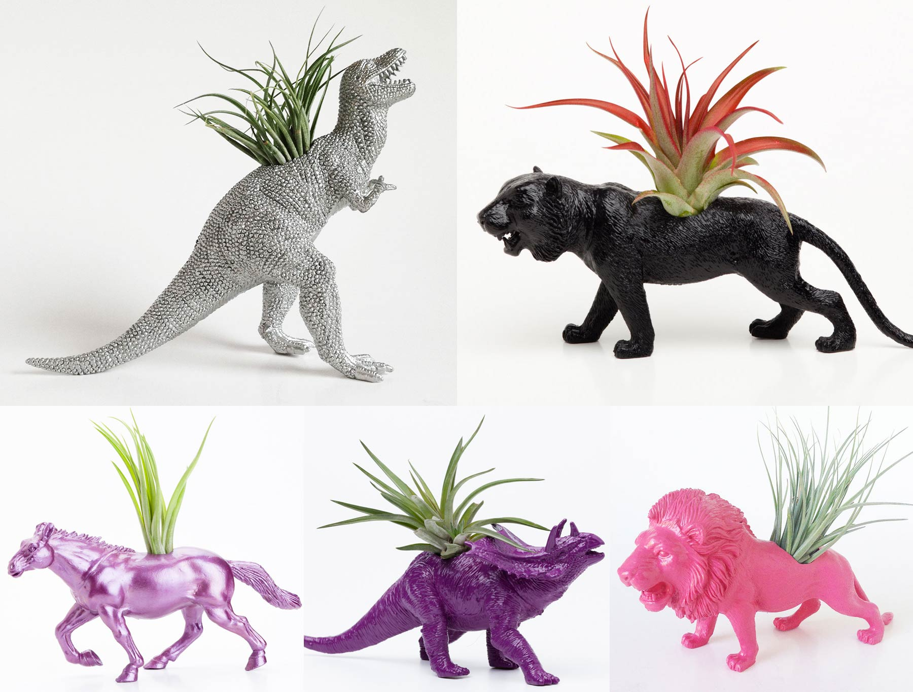 Plastic animal toys filled with tillandsia plants.