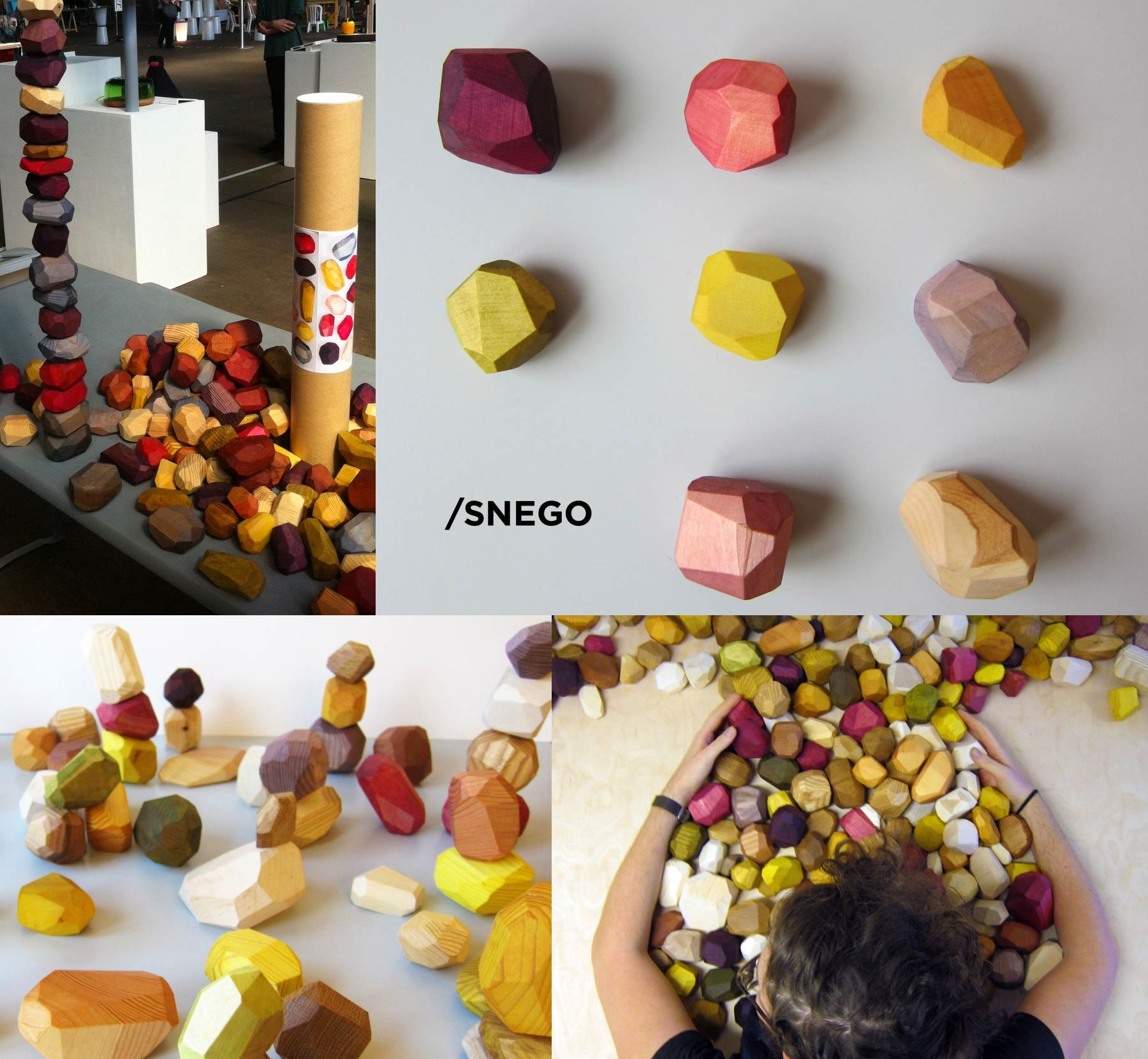 Coloured wooden pieces cut out into mineral shapes