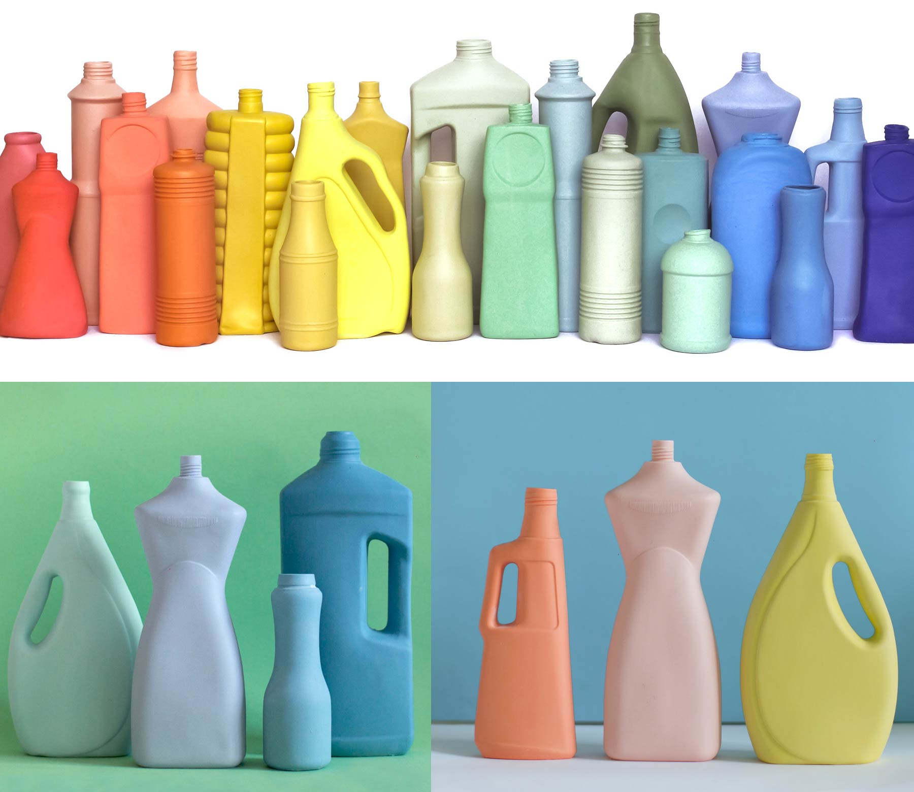 China recipients shaped as cleaning product plastic bottles.