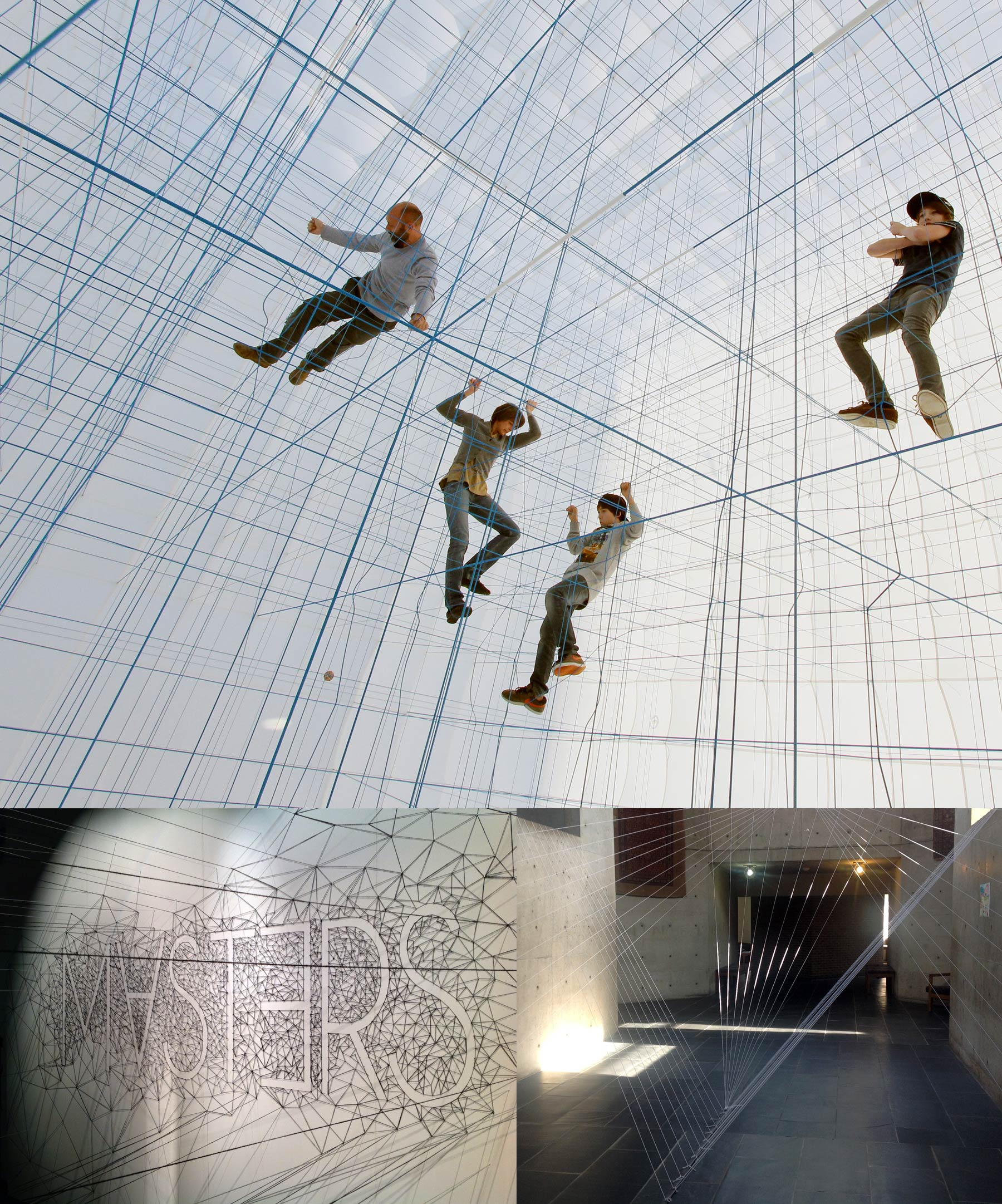 People climbing a structure made out of ropes, letters form out of a net of threads attached to the wall, threads through space.