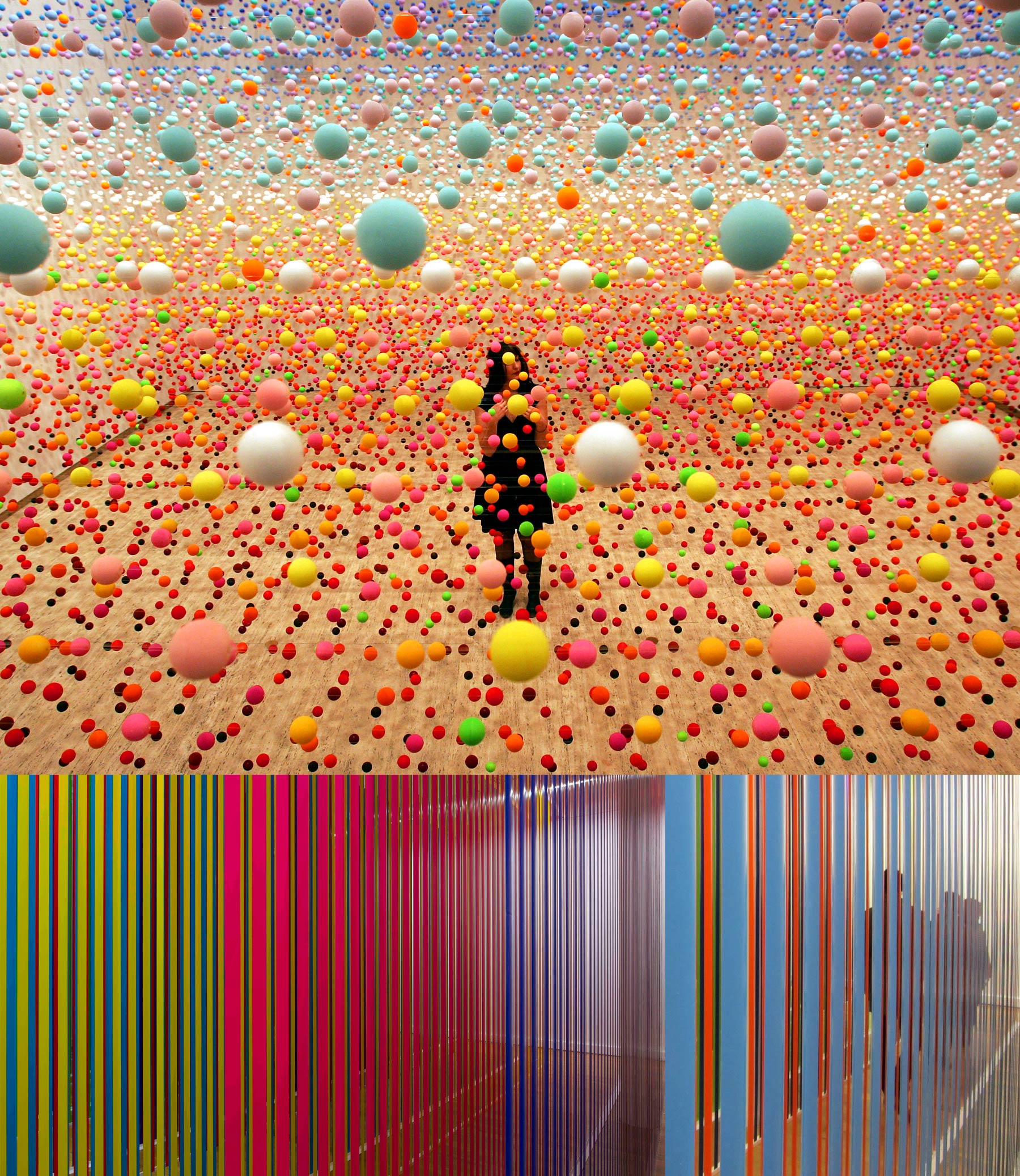 A space filled up with small colour balls suspended on horizontal threads. A space filled up with vertical panels.