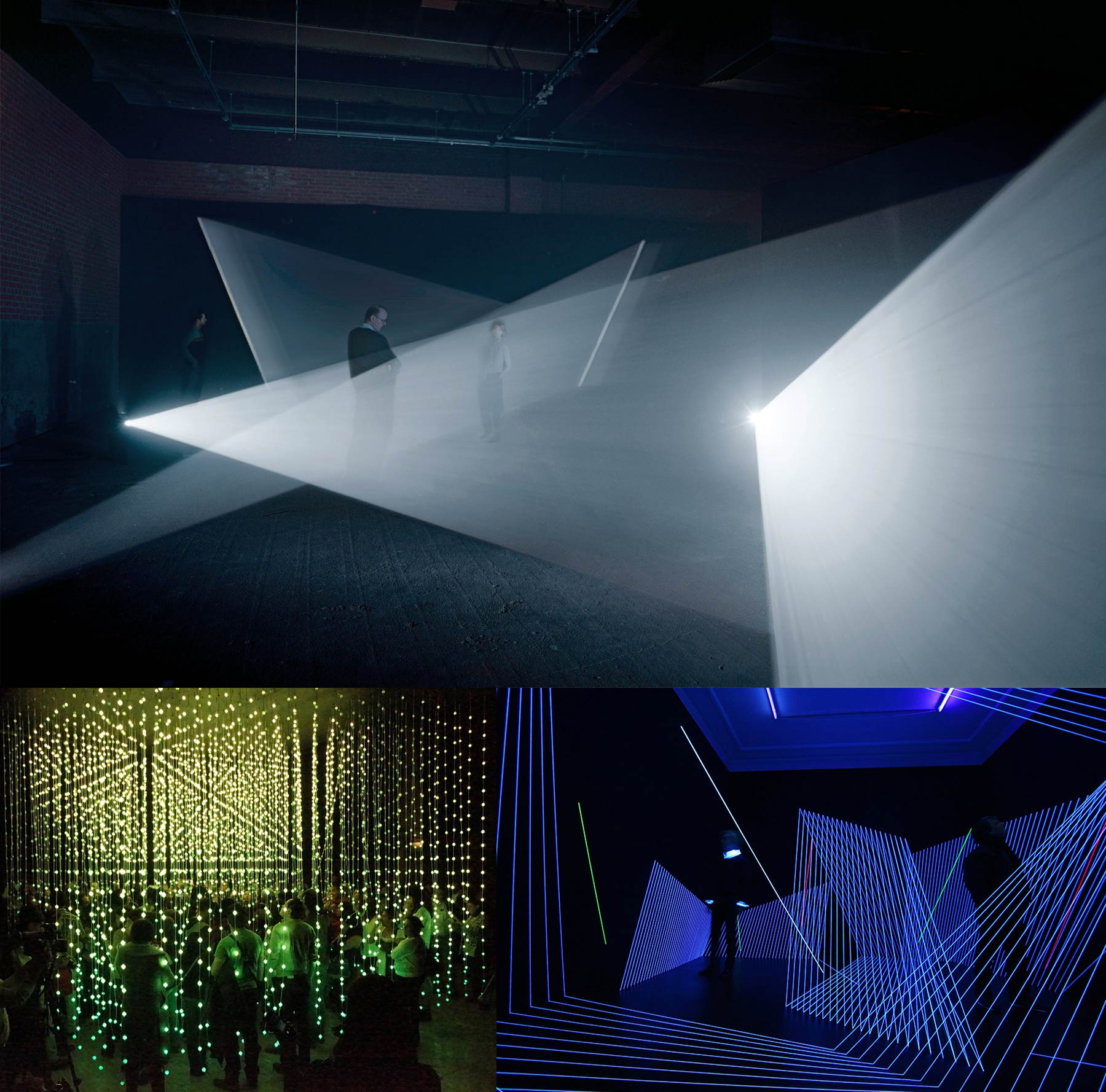 Light axes cross the room, a cube made of hanging light garlands, light axes with very graphical motifs.