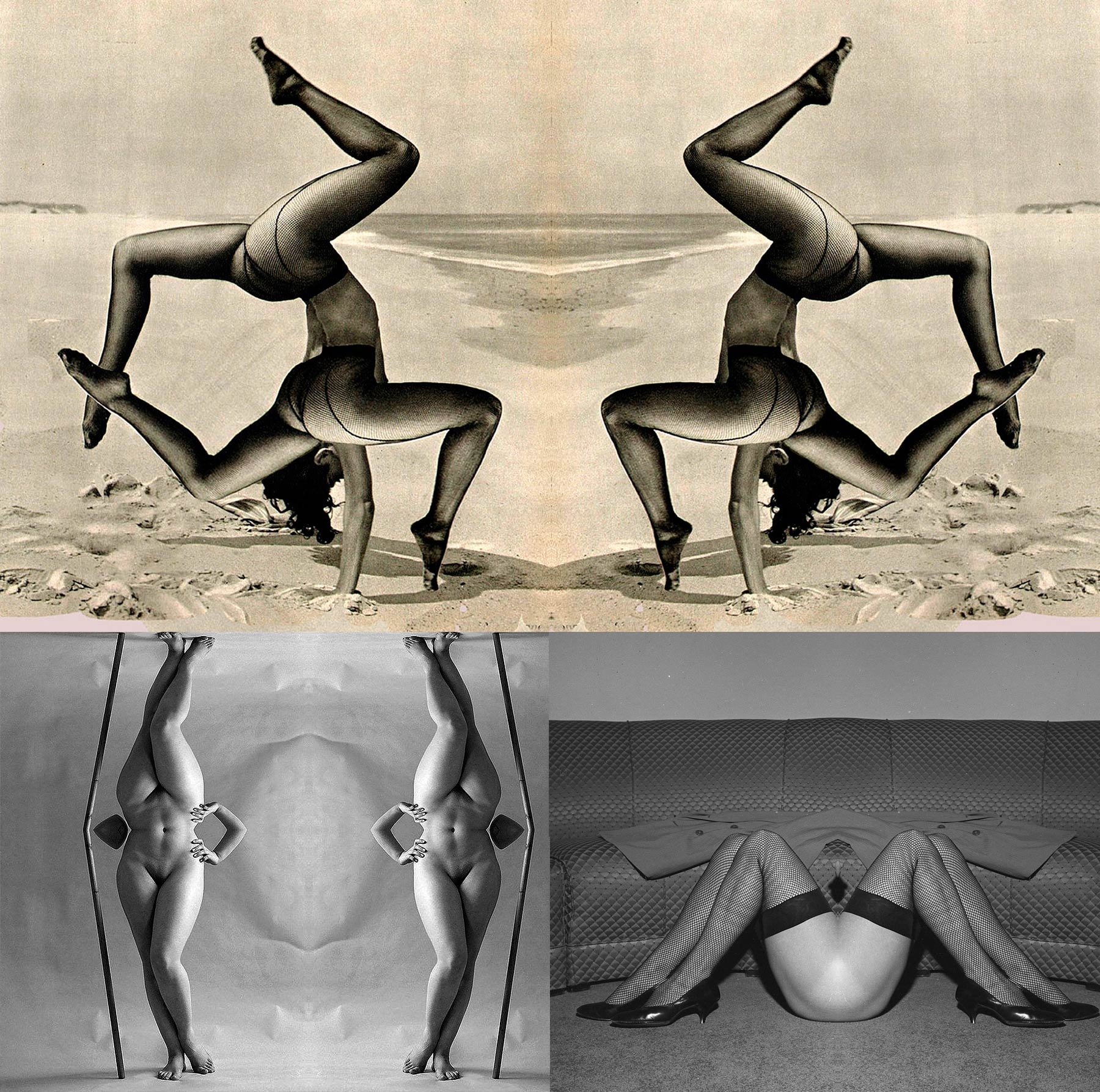 A series of retouched pictures. These are old photos of naked or half-naked women, fold and mirrored to create strange human bodies.