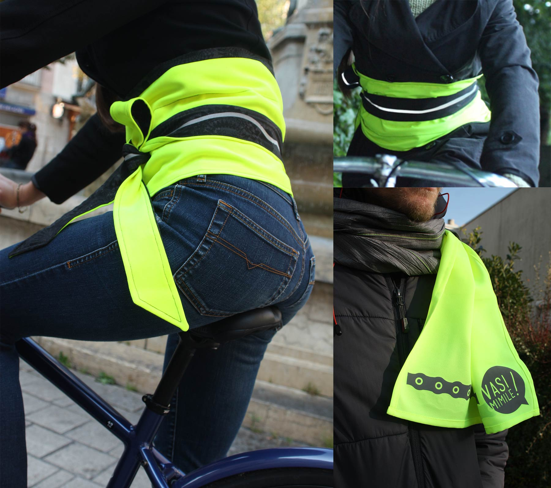 A picture of a Japanese-style sash and a scarf in fluo tissue