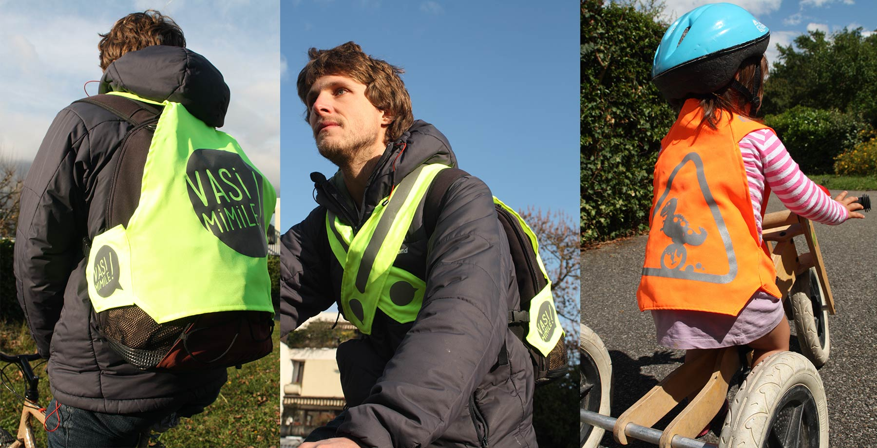A fluo accessory allows to cover the back and the backpack when using the bicycle, and a small fluo waistcoat for children on wheels.