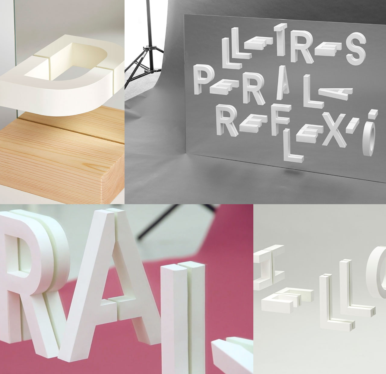 Three-dimensional paper letters stuck to a mirror. The reflection on the mirror completes missing bits.