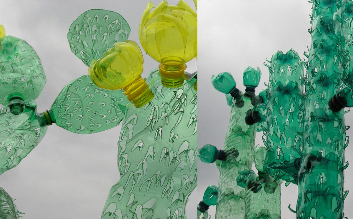 Cactus details made out of recycled plastic bottles