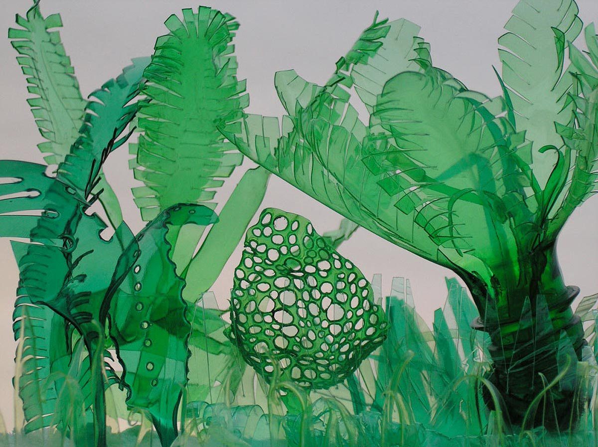 Tropical plants made out of recycled plastic bottles