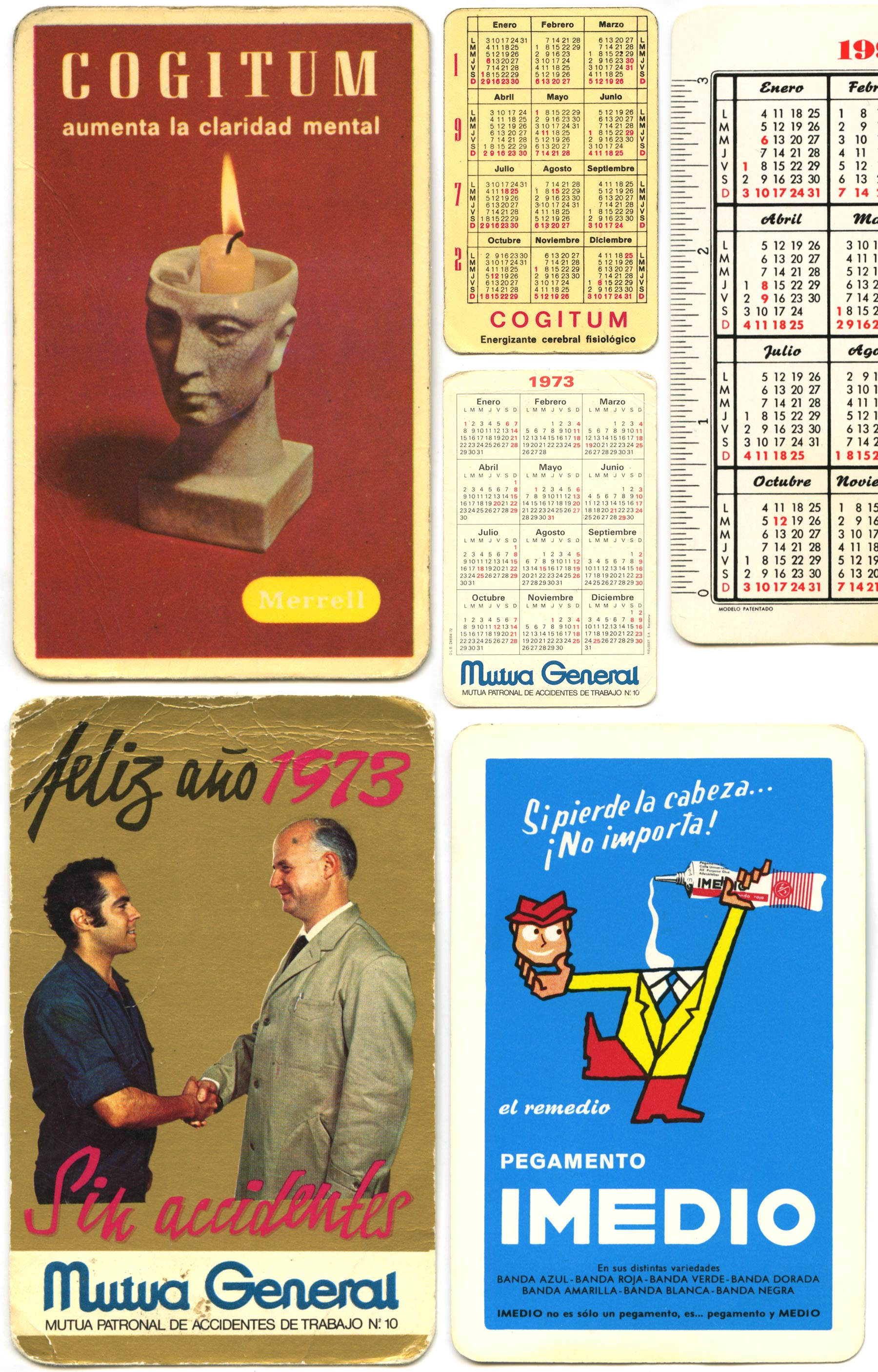 Old card calendars with advertising on them