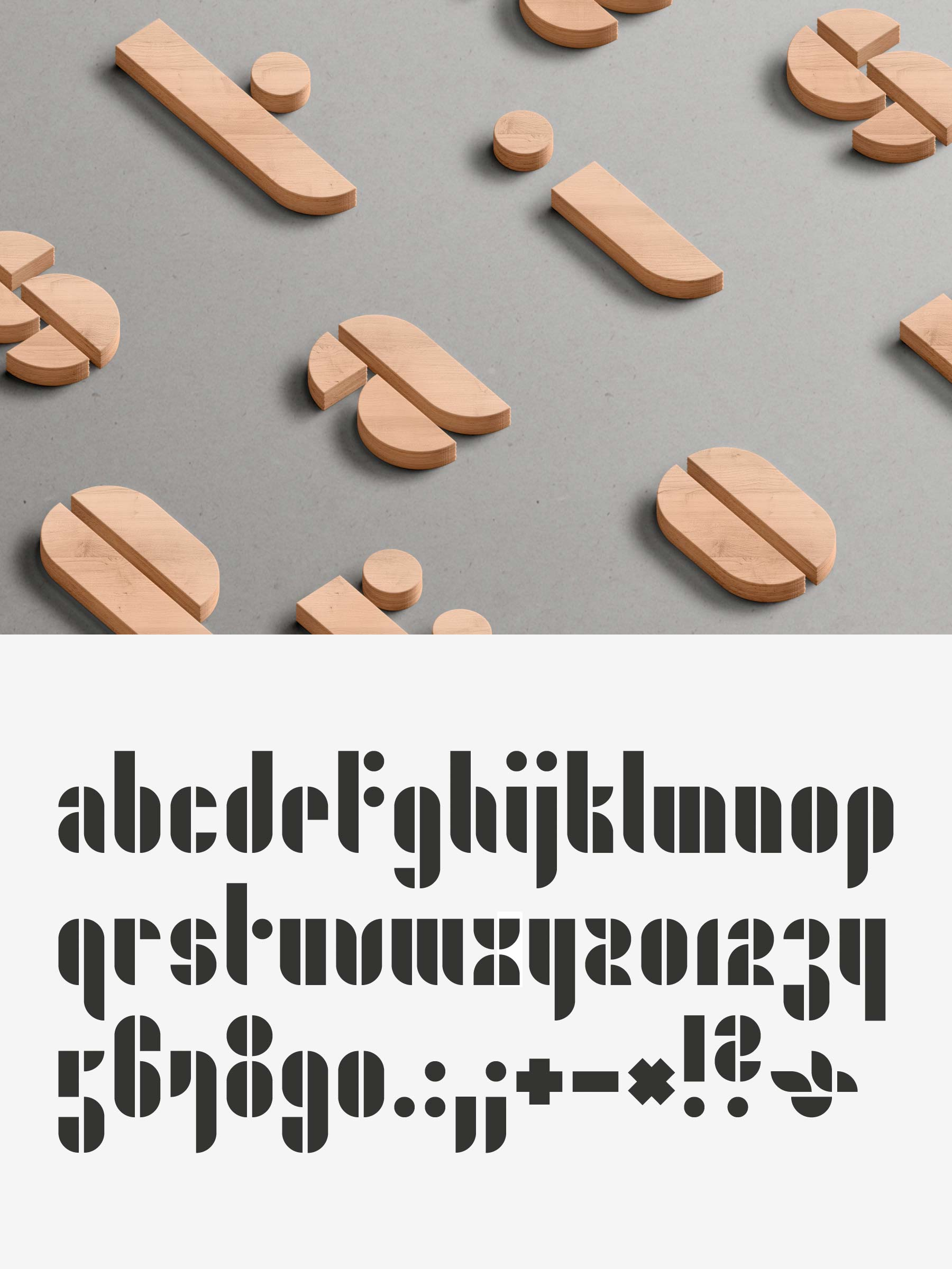 A typographic font made out of wooden shapes