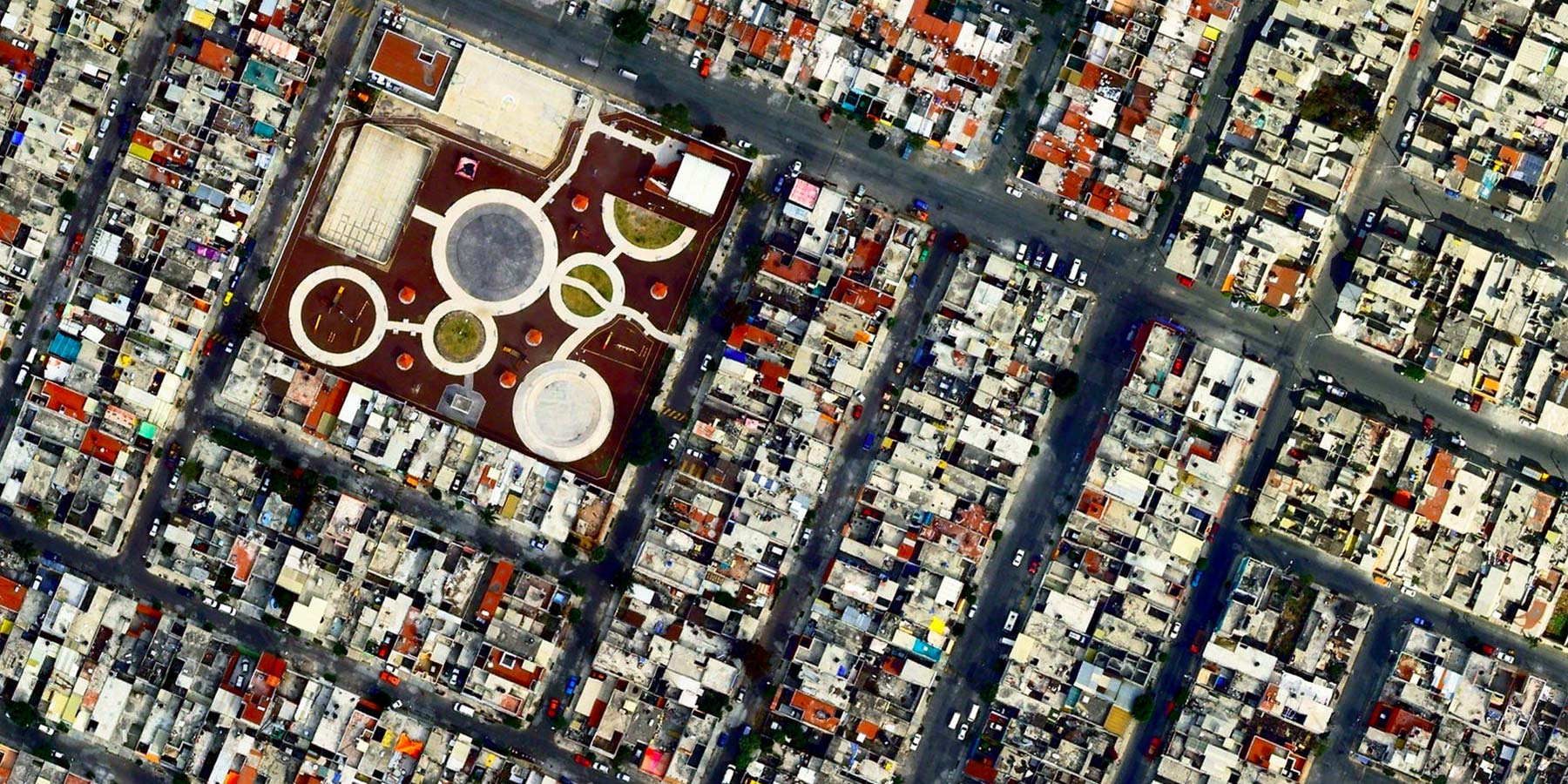 Urban satellite view, with geometric shapes