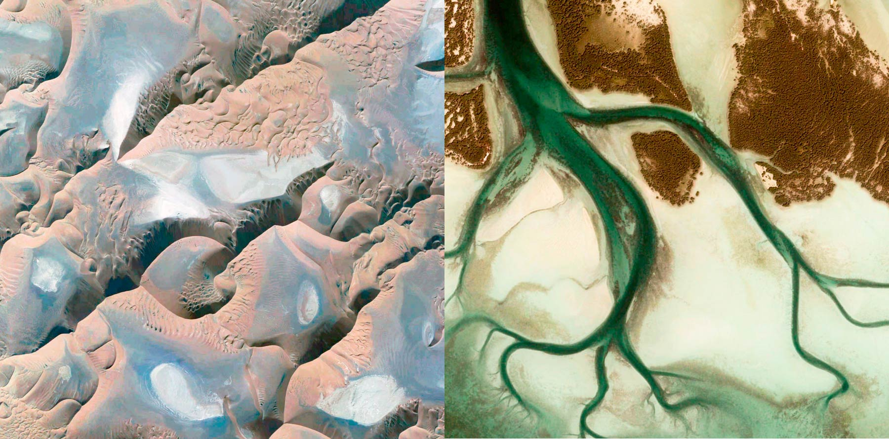 Satellite view of landscapes with organic shapes
