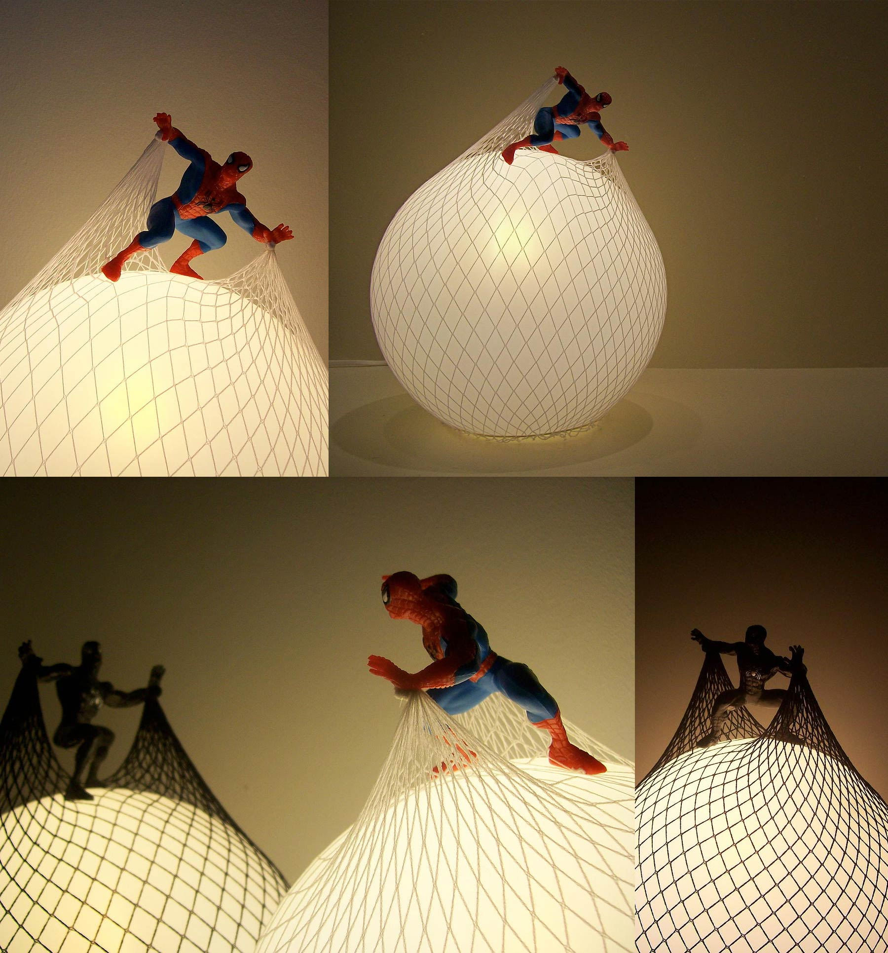Photos of round lamps covered by a net. The net is attached to a Spiderman action figure placed on top of the lamp.