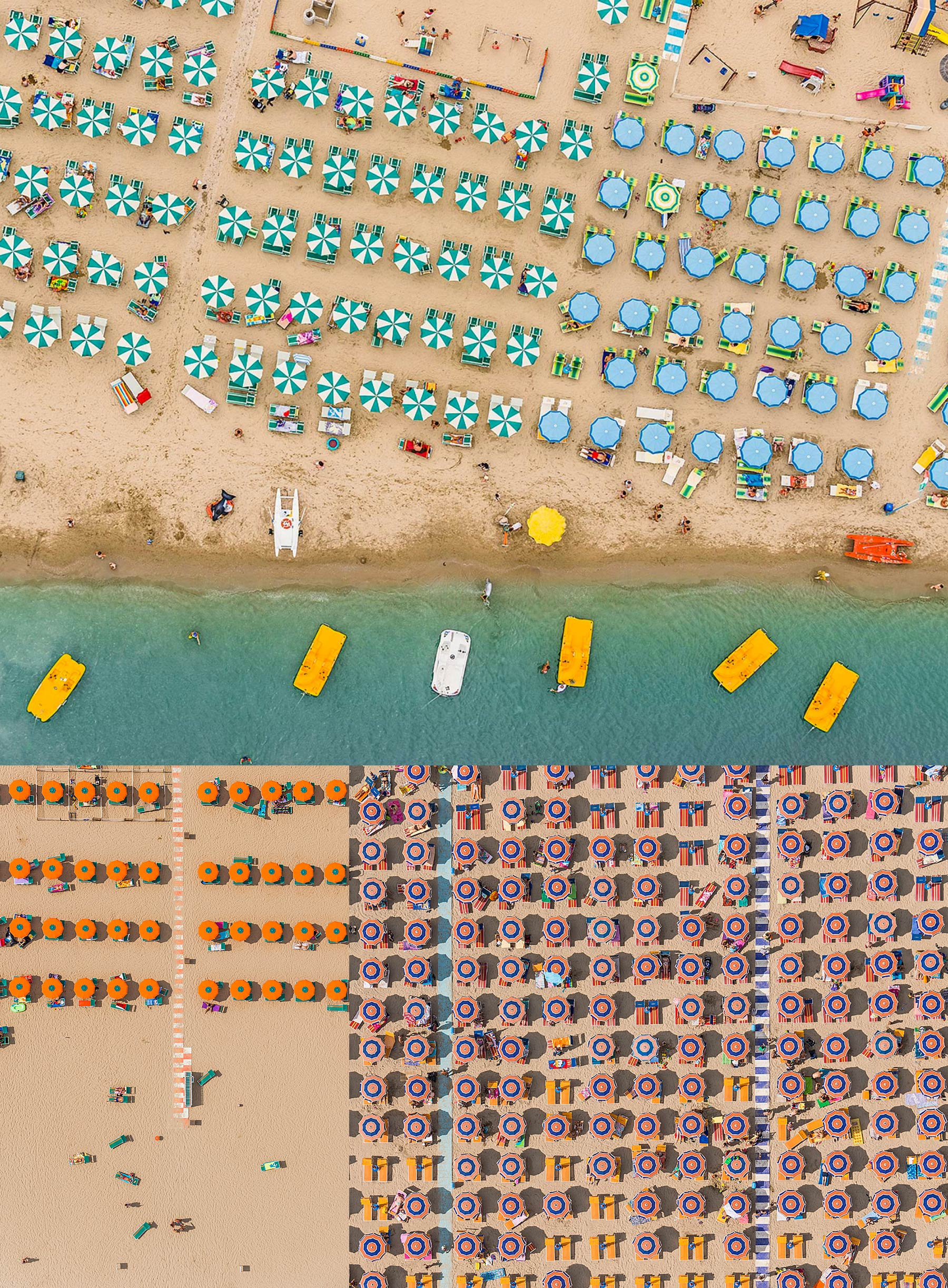3 air photographs of packed beaches with well arranged parasols