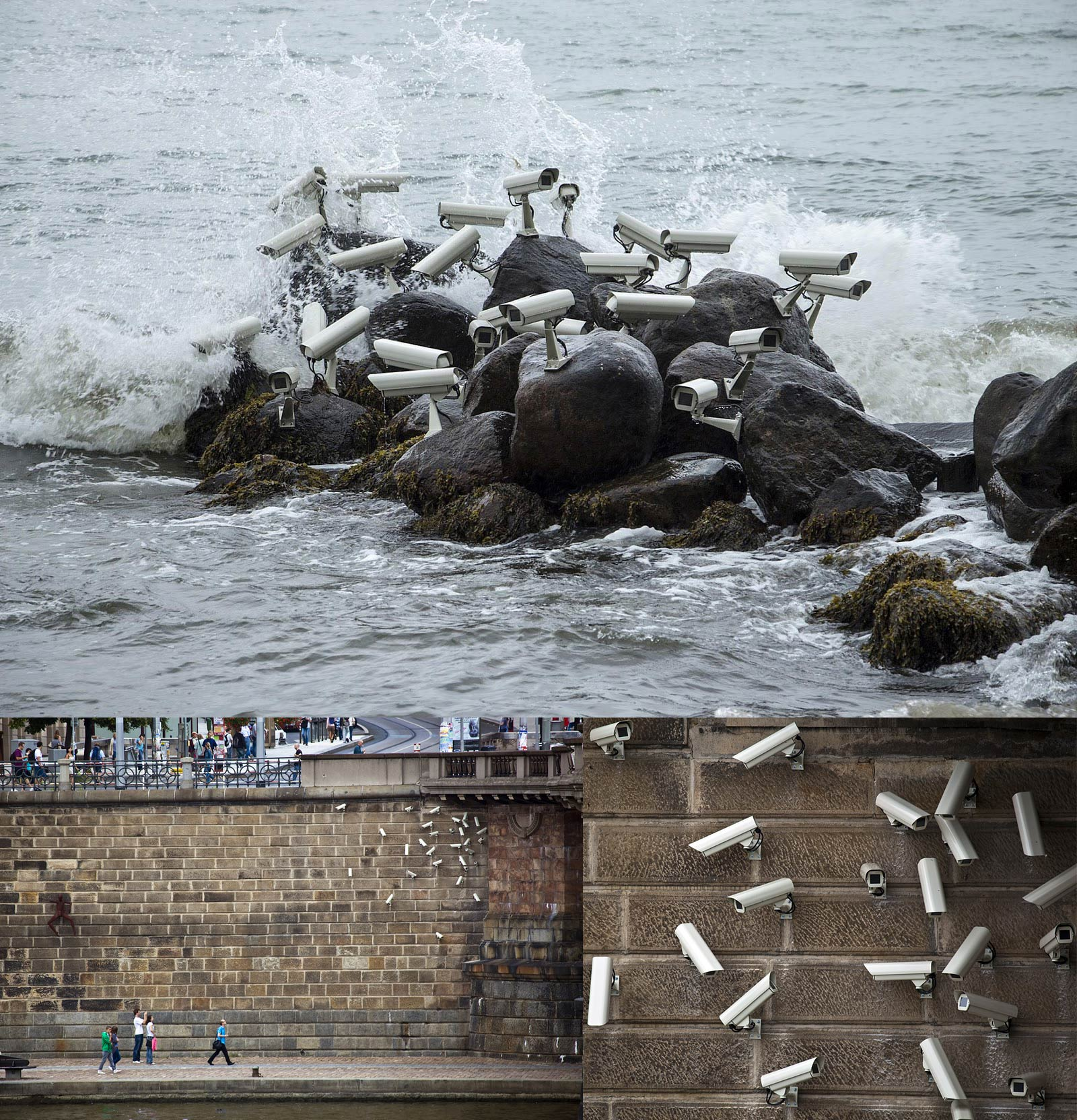 Surveillance cameras placed on a rock in the middle of the sea, like seagulls, and on a wall, like pigeons