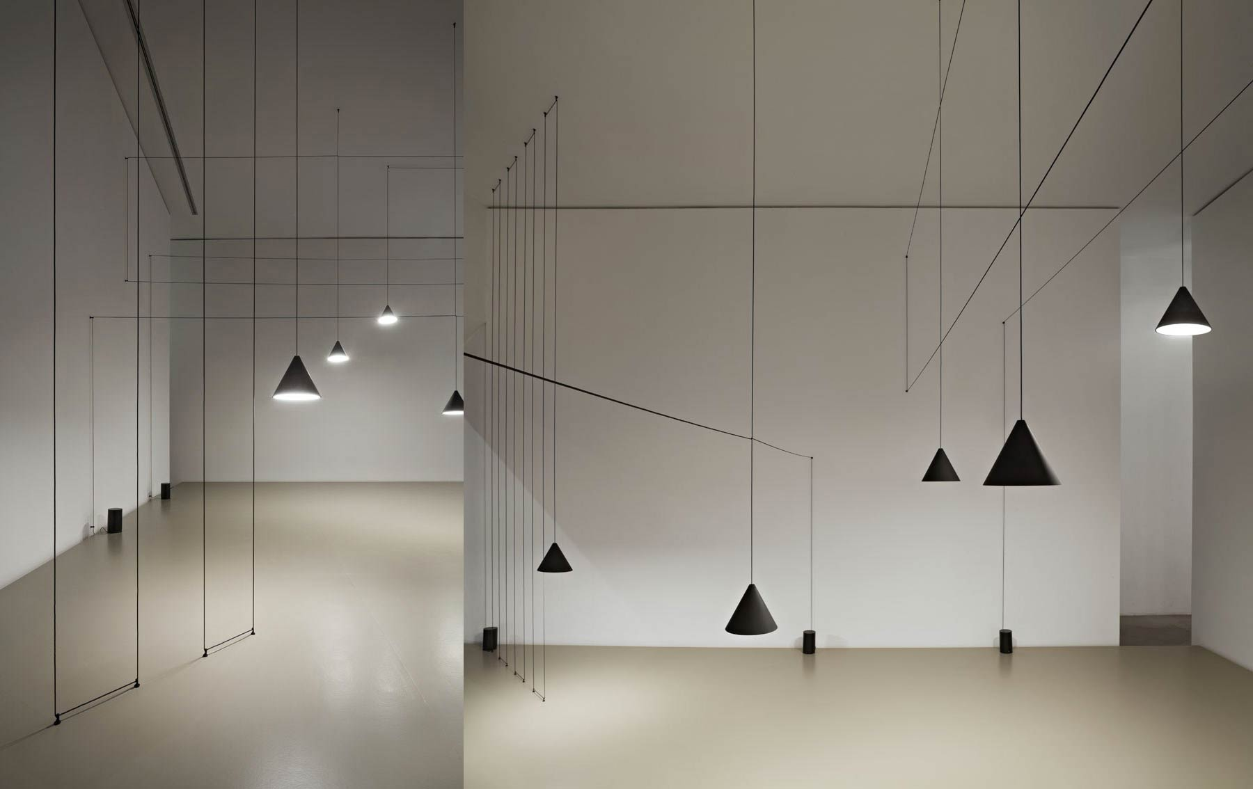 Simple lamps with long cables crossing the room