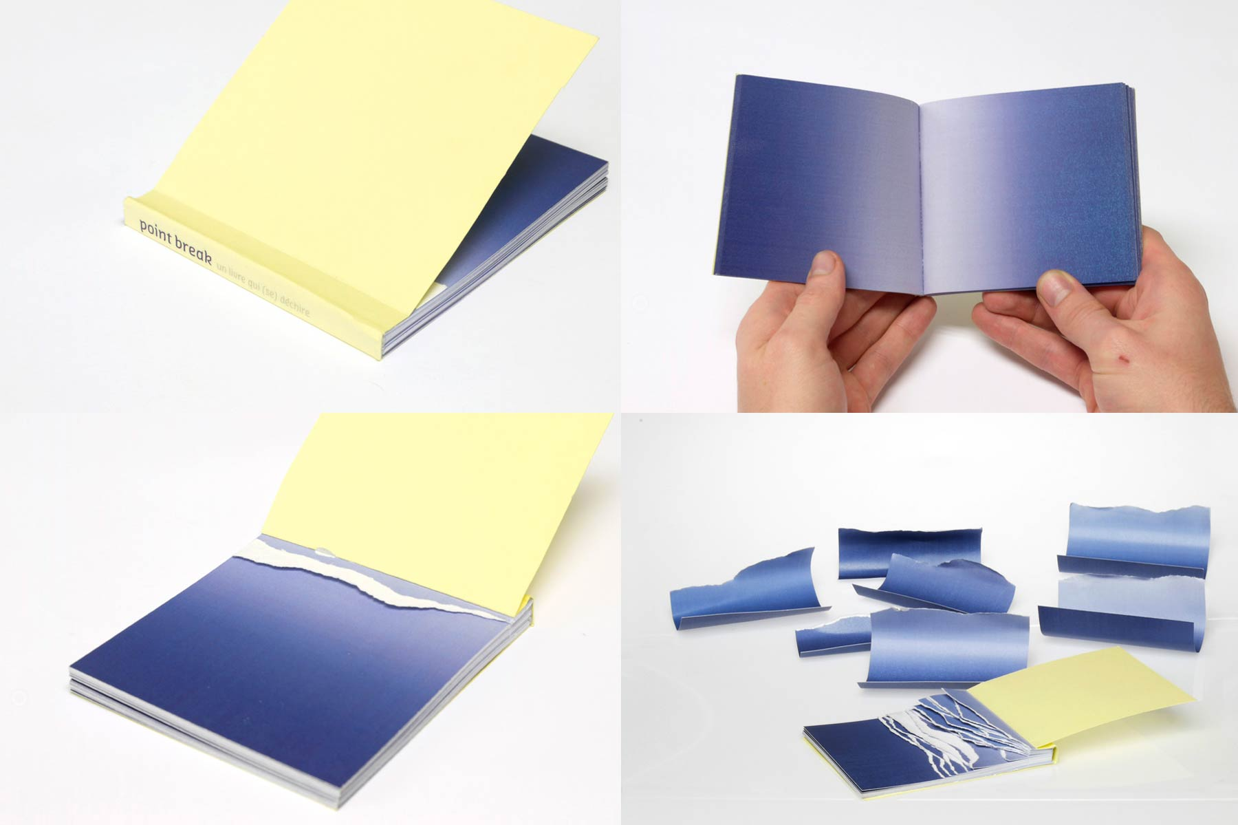 pictures of a book with blue pages. Waves can be simulated by tearing its pages away.