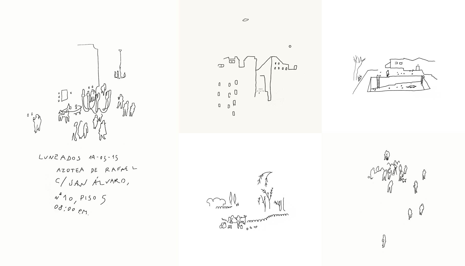 A series of very simple illustrations, made out of black minimalistic strokes on a white background.