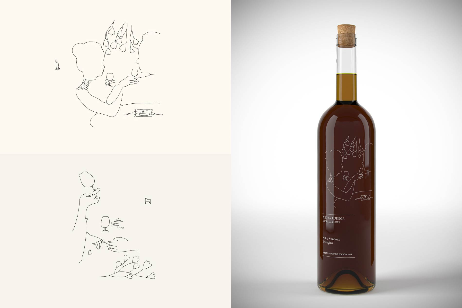 A series of illustrations and wine bottles with screen-print illustrations on them